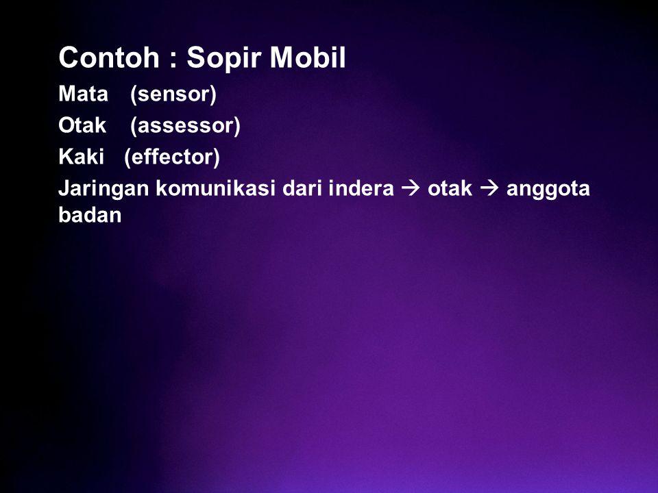 Contoh : Sopir Mobil Mata (sensor) Otak (assessor) Kaki (effector)