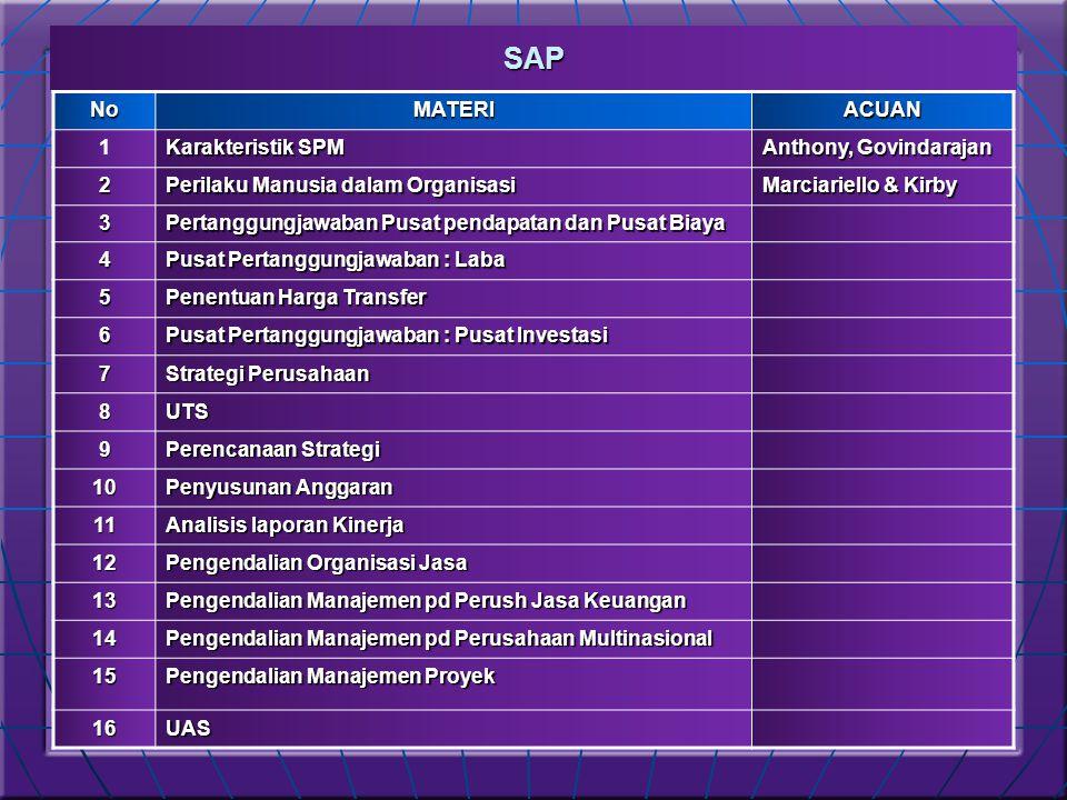 SAP No MATERI ACUAN 1 Karakteristik SPM Anthony, Govindarajan 2