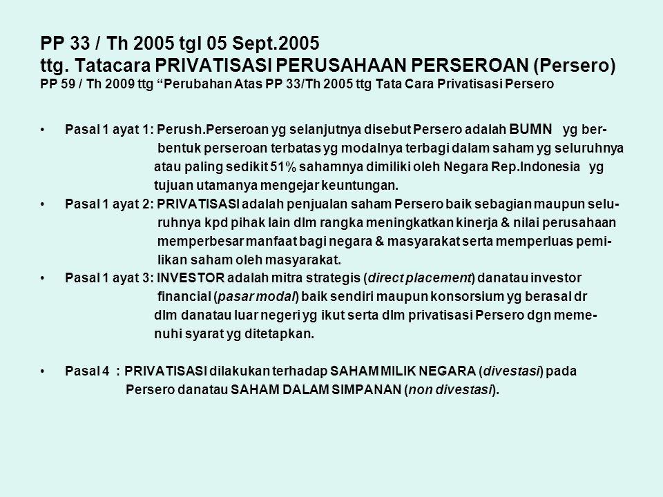 PP 33 / Th 2005 tgl 05 Sept.2005 ttg. Tatacara PRIVATISASI PERUSAHAAN PERSEROAN (Persero) PP 59 / Th 2009 ttg Perubahan Atas PP 33/Th 2005 ttg Tata Cara Privatisasi Persero