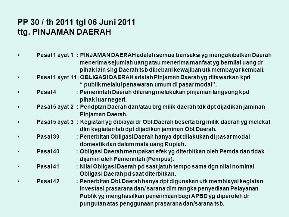 PP 30 / th 2011 tgl 06 Juni 2011 ttg. PINJAMAN DAERAH