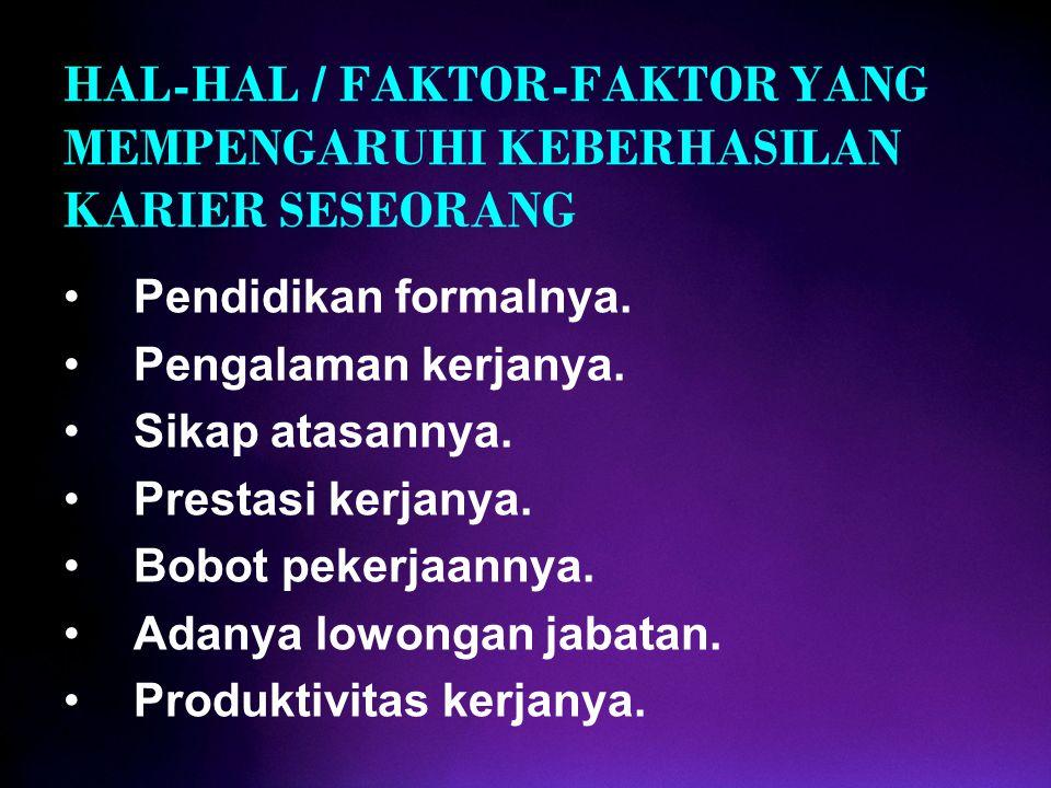 HAL-HAL / FAKTOR-FAKTOR YANG MEMPENGARUHI KEBERHASILAN KARIER SESEORANG