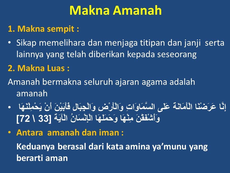 Makna Amanah 1. Makna sempit :