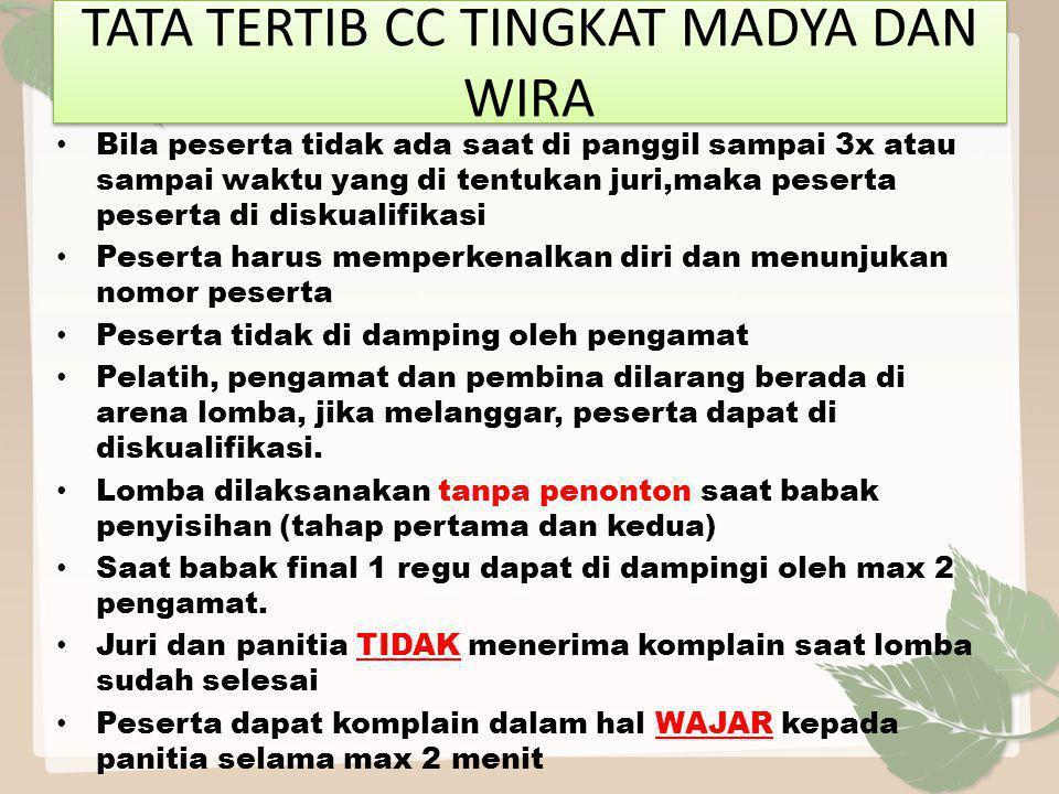 TATA TERTIB CC TINGKAT MADYA DAN WIRA