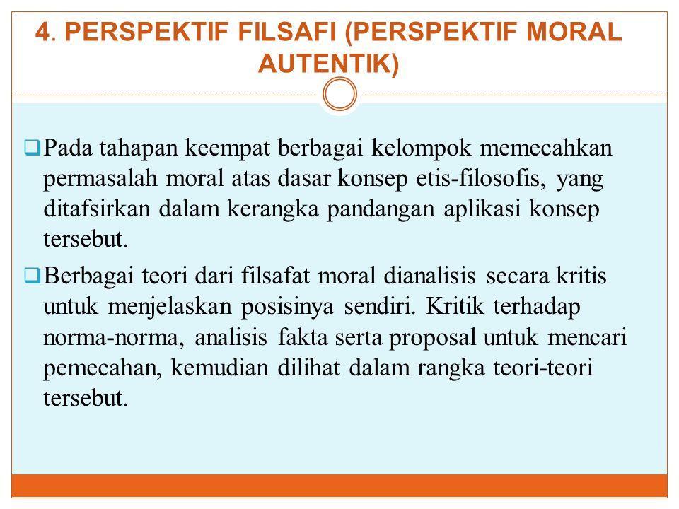 4. PERSPEKTIF FILSAFI (PERSPEKTIF MORAL AUTENTIK)