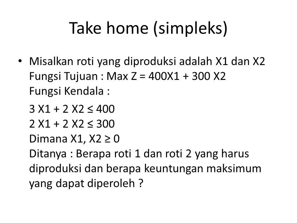 Take home (simpleks) Misalkan roti yang diproduksi adalah X1 dan X2 Fungsi Tujuan : Max Z = 400X1 + 300 X2 Fungsi Kendala :