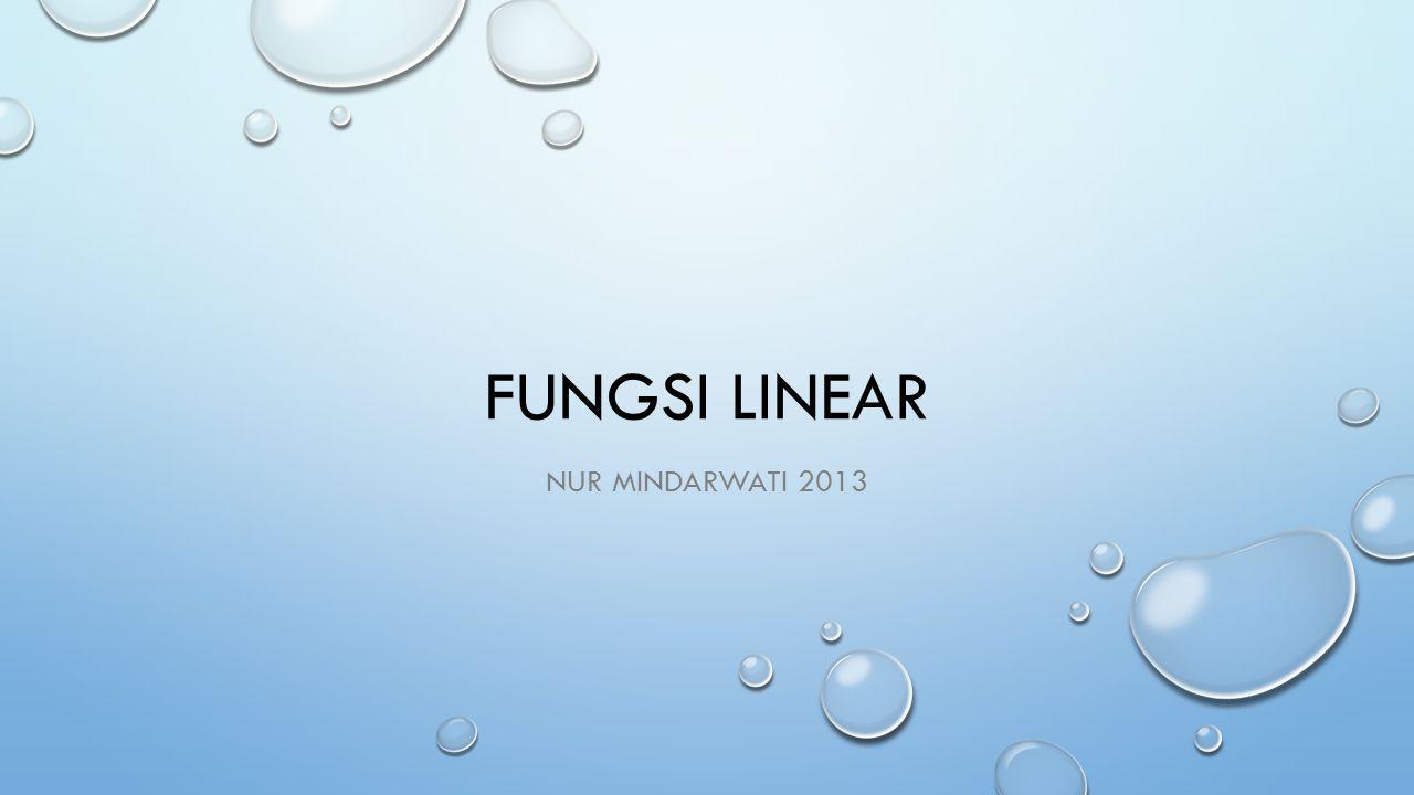 FUNGSI LINEAR NUR MINDARWATI 2013