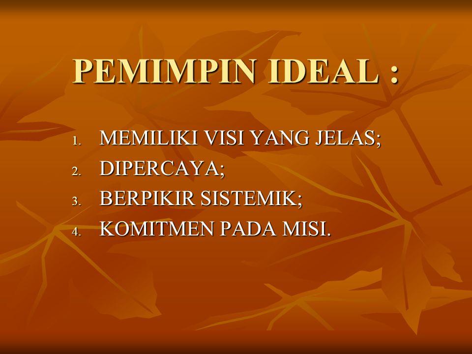 PEMIMPIN IDEAL : MEMILIKI VISI YANG JELAS; DIPERCAYA;