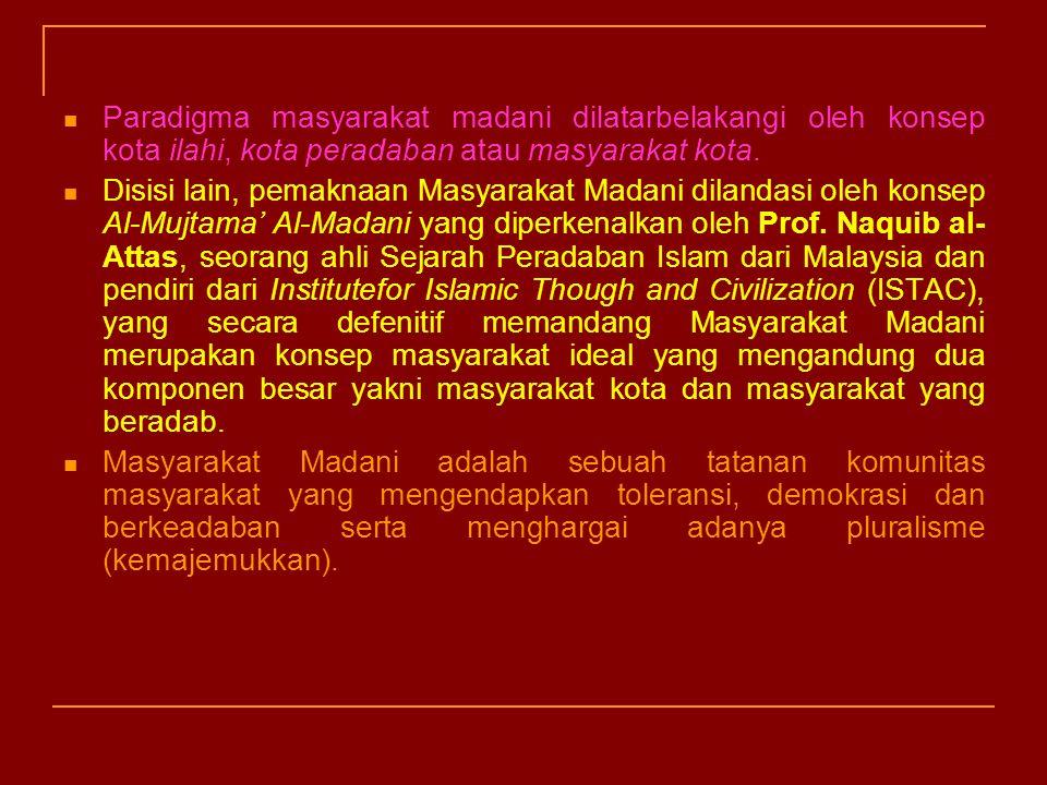 Paradigma masyarakat madani dilatarbelakangi oleh konsep kota ilahi, kota peradaban atau masyarakat kota.