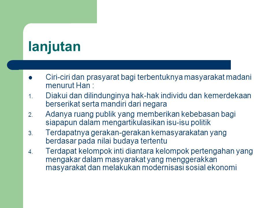 lanjutan Ciri-ciri dan prasyarat bagi terbentuknya masyarakat madani menurut Han :