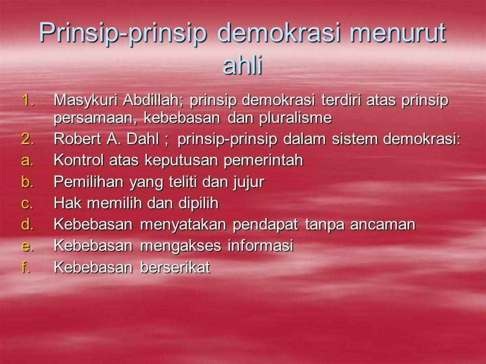 Prinsip-prinsip demokrasi menurut ahli