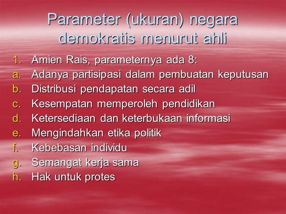 Parameter (ukuran) negara demokratis menurut ahli