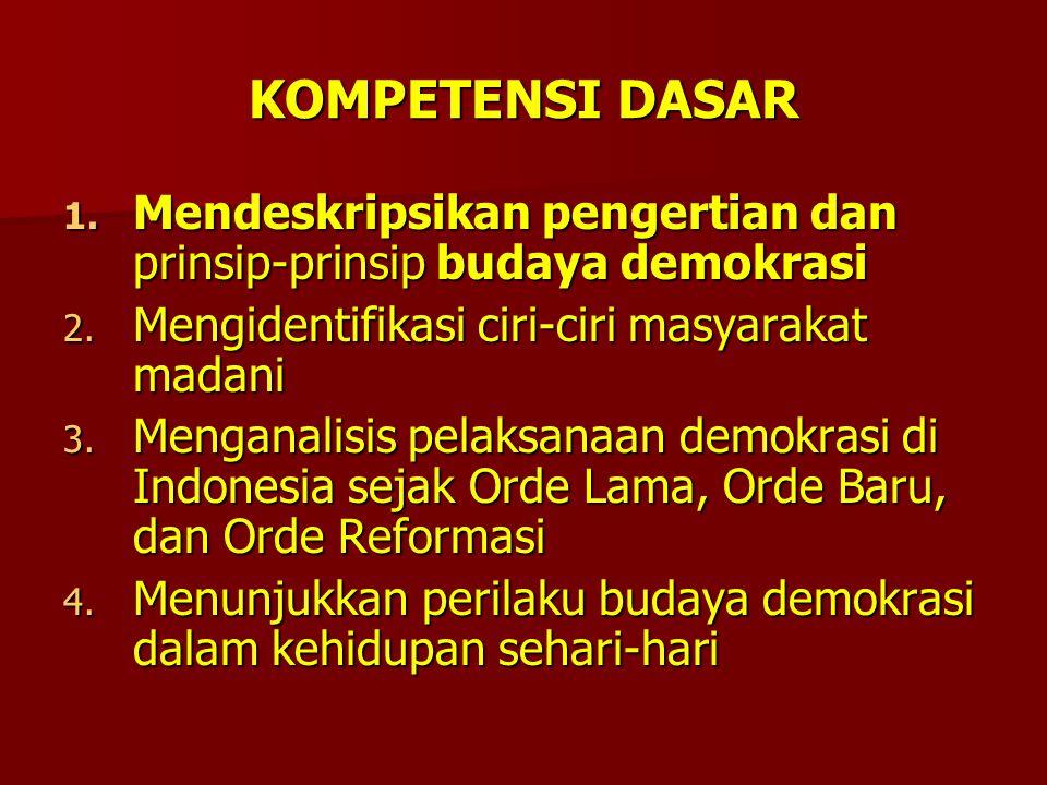KOMPETENSI DASAR Mendeskripsikan pengertian dan prinsip-prinsip budaya demokrasi. Mengidentifikasi ciri-ciri masyarakat madani.