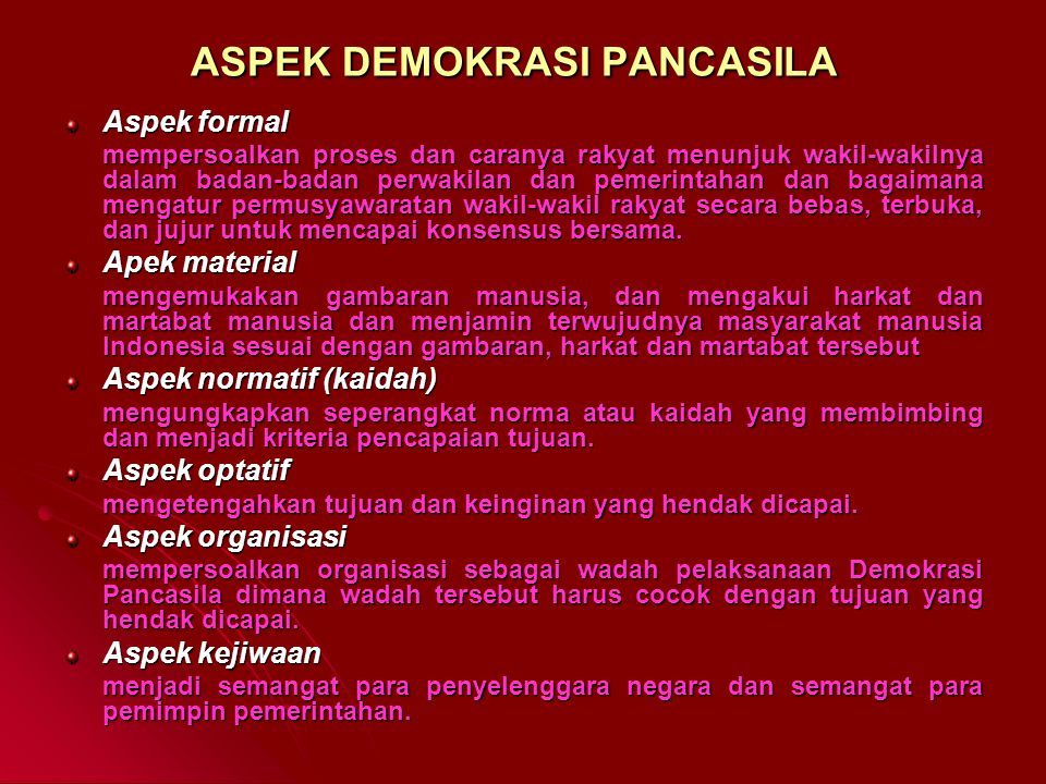 ASPEK DEMOKRASI PANCASILA