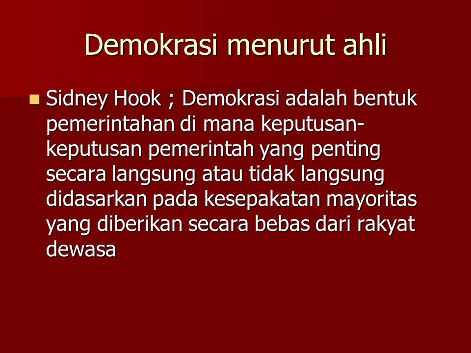Demokrasi menurut ahli