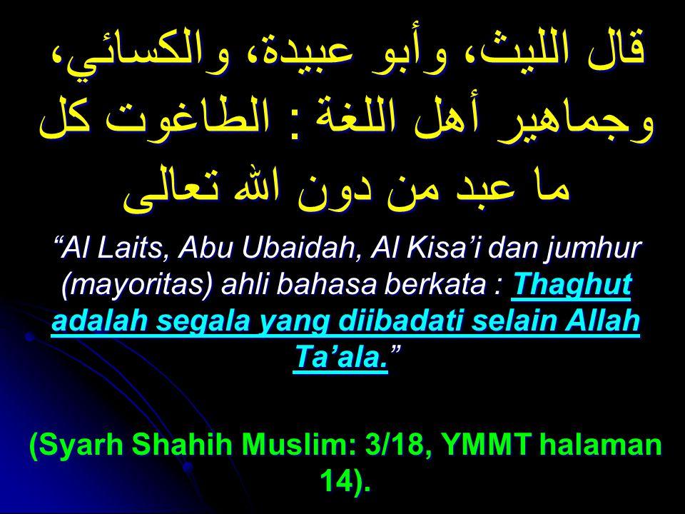 (Syarh Shahih Muslim: 3/18, YMMT halaman 14).