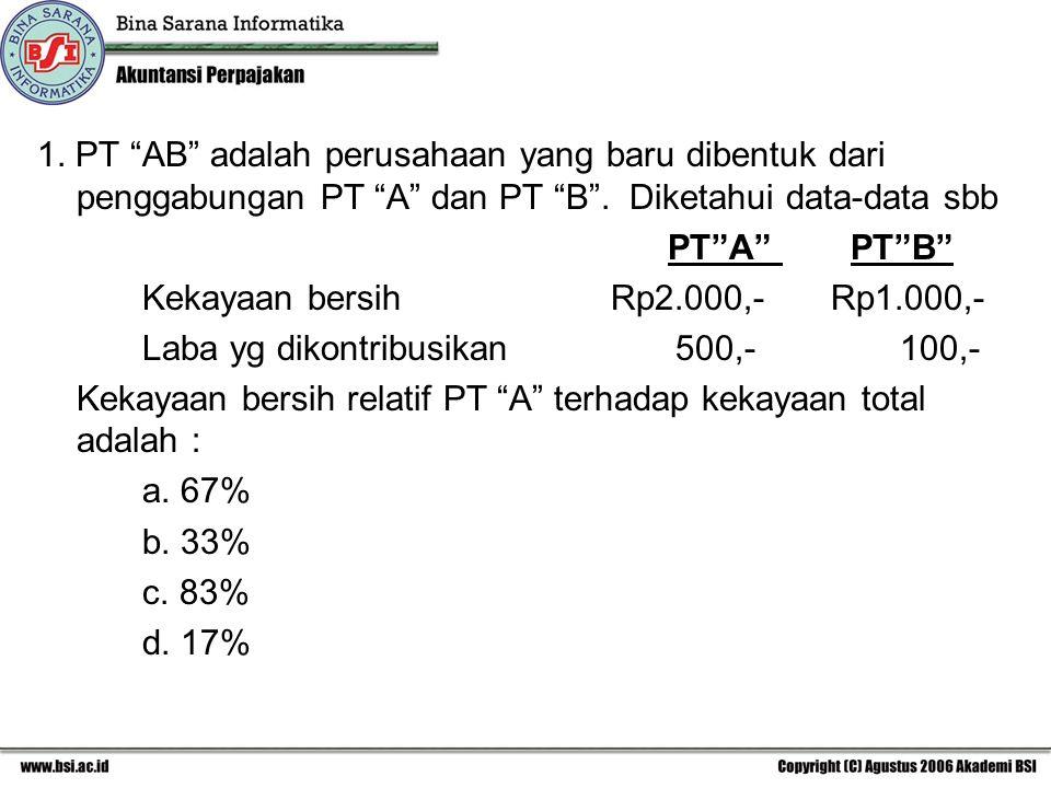 1. PT AB adalah perusahaan yang baru dibentuk dari penggabungan PT A dan PT B . Diketahui data-data sbb