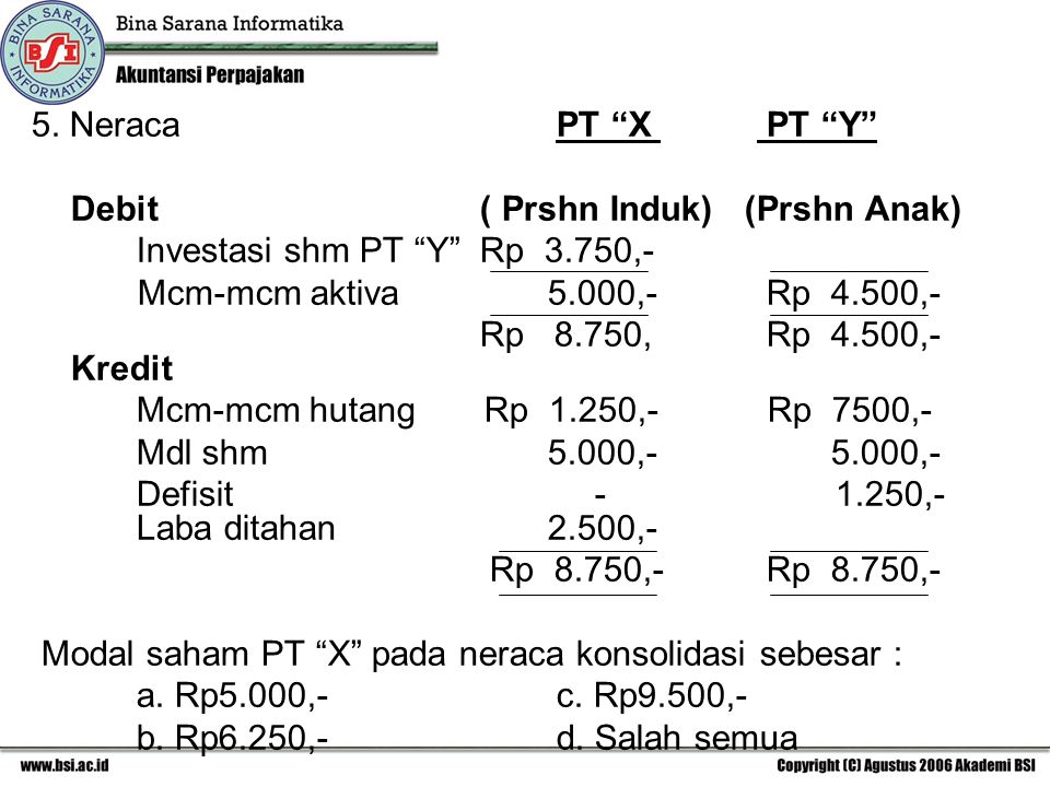 5. Neraca PT X PT Y Debit ( Prshn Induk) (Prshn Anak) Investasi shm PT Y Rp 3.750,-