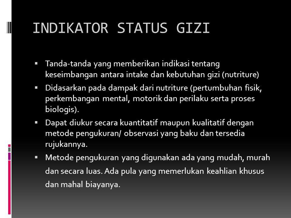 INDIKATOR STATUS GIZI Tanda-tanda yang memberikan indikasi tentang keseimbangan antara intake dan kebutuhan gizi (nutriture)