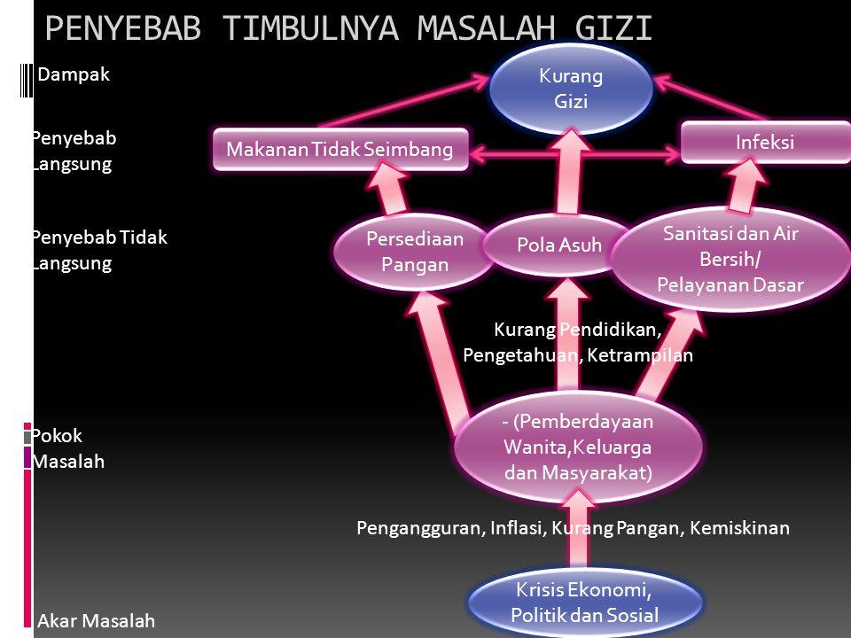 PENYEBAB TIMBULNYA MASALAH GIZI