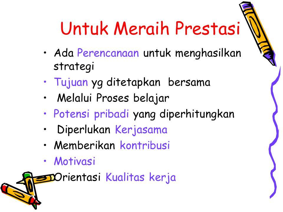Untuk Meraih Prestasi Ada Perencanaan untuk menghasilkan strategi