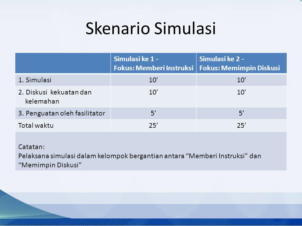 Skenario Simulasi Simulasi ke 1 - Fokus: Memberi Instruksi