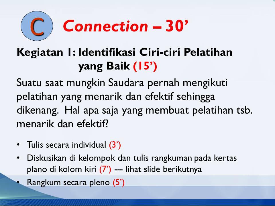 Connection – 30' C. Kegiatan 1: Identifikasi Ciri-ciri Pelatihan yang Baik (15')
