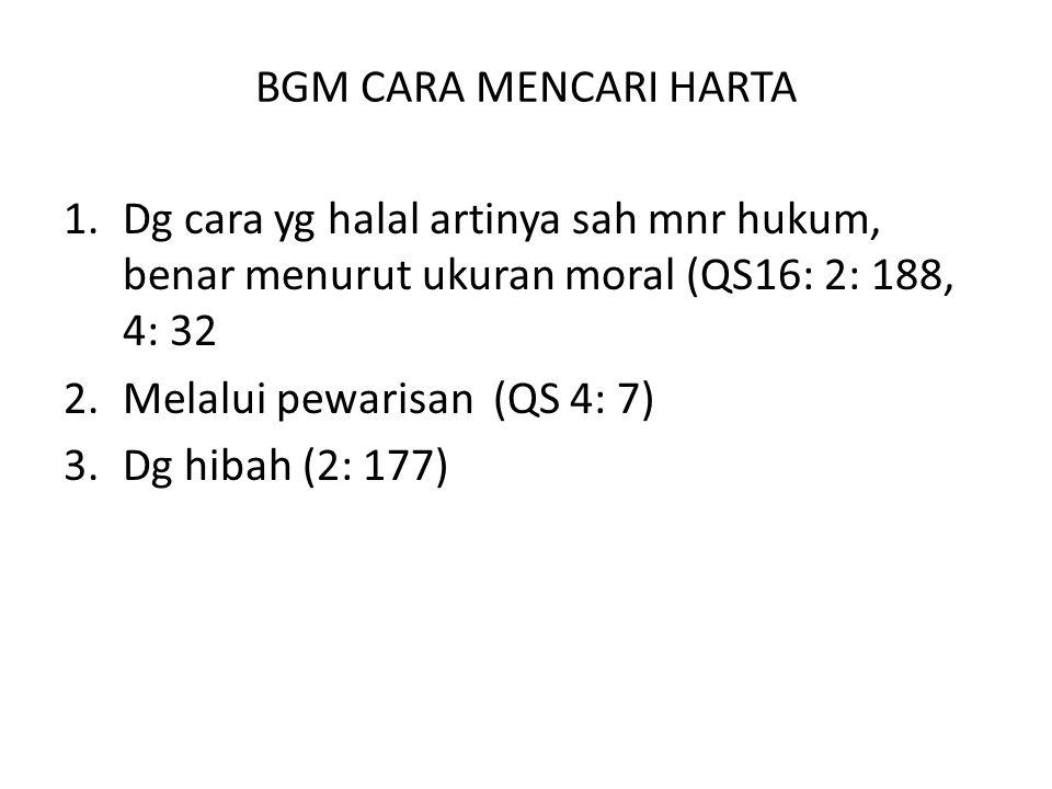 BGM CARA MENCARI HARTA Dg cara yg halal artinya sah mnr hukum, benar menurut ukuran moral (QS16: 2: 188, 4: 32.