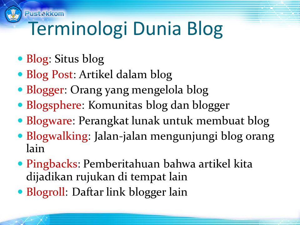 Terminologi Dunia Blog