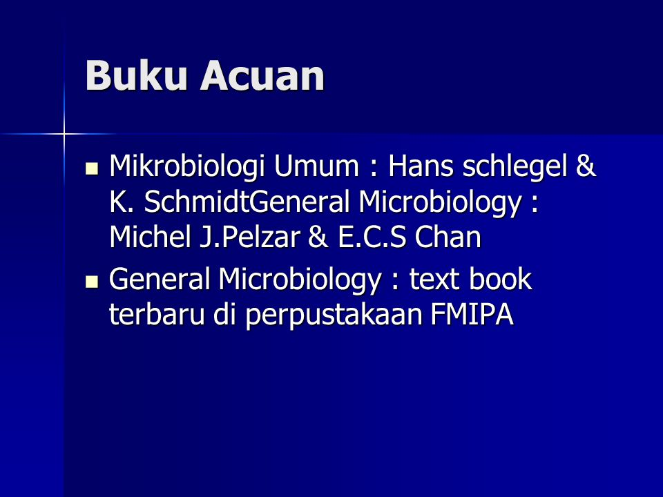 Buku Acuan Mikrobiologi Umum : Hans schlegel & K. SchmidtGeneral Microbiology : Michel J.Pelzar & E.C.S Chan.