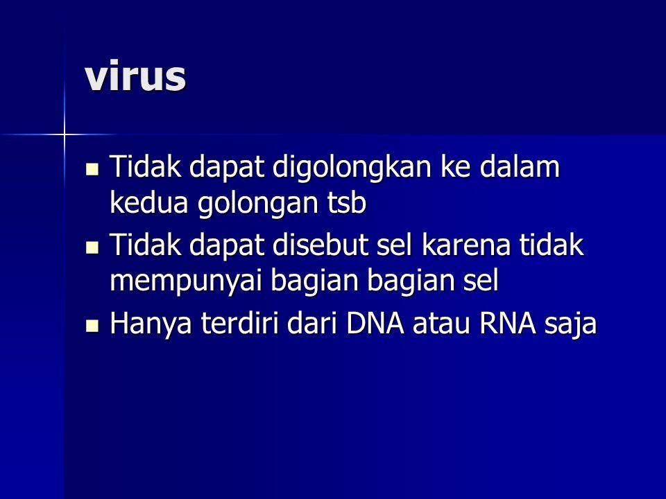 virus Tidak dapat digolongkan ke dalam kedua golongan tsb