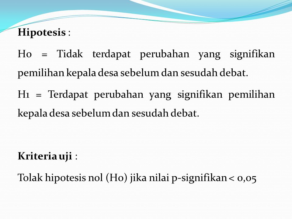 Hipotesis : H0 = Tidak terdapat perubahan yang signifikan pemilihan kepala desa sebelum dan sesudah debat.