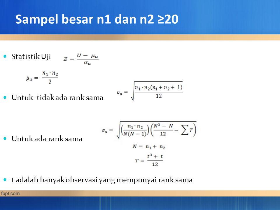 Sampel besar n1 dan n2 ≥20 Statistik Uji Untuk tidak ada rank sama