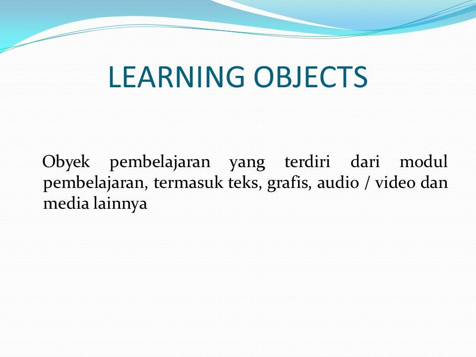 LEARNING OBJECTS Obyek pembelajaran yang terdiri dari modul pembelajaran, termasuk teks, grafis, audio / video dan media lainnya.
