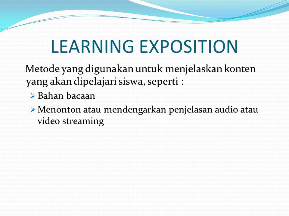 LEARNING EXPOSITION Metode yang digunakan untuk menjelaskan konten yang akan dipelajari siswa, seperti :