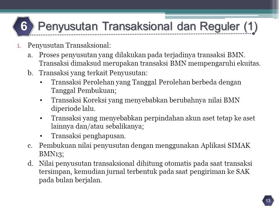 6 Penyusutan Transaksional dan Reguler (1) Penyusutan Transaksional:
