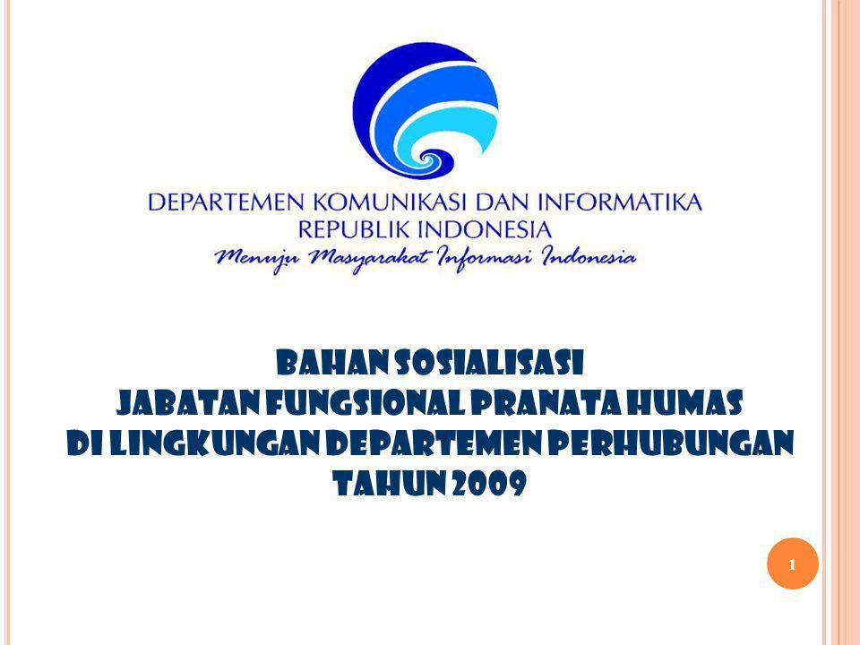 BAHAN SOSIALISASI JABATAN FUNGSIONAL PRANATA HUMAS DI LINGKUNGAN DEPARTEMEN PERHUBUNGAN TAHUN 2009