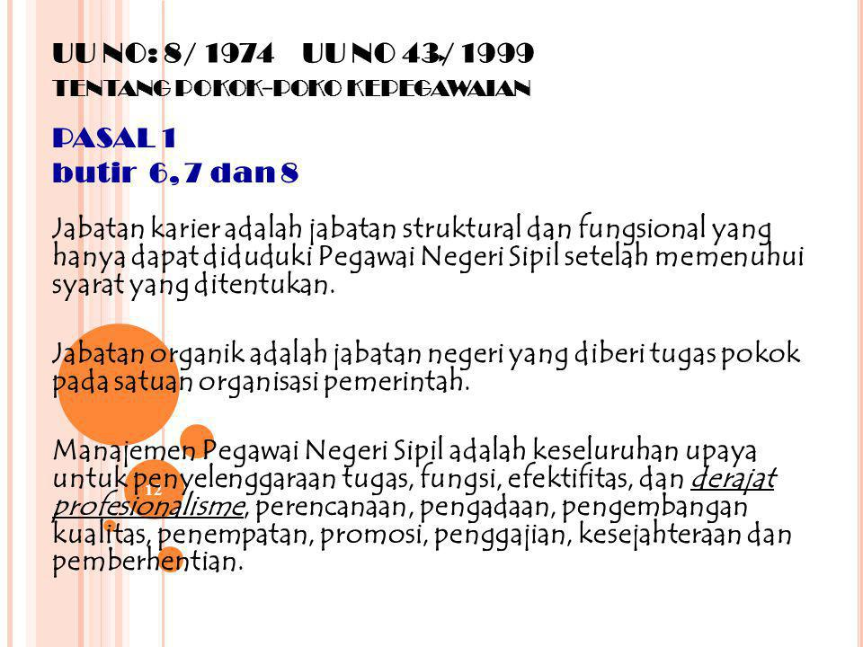 UU NO: 8/ 1974 UU NO 43/ 1999 tentang pokok-poko kepegawaian