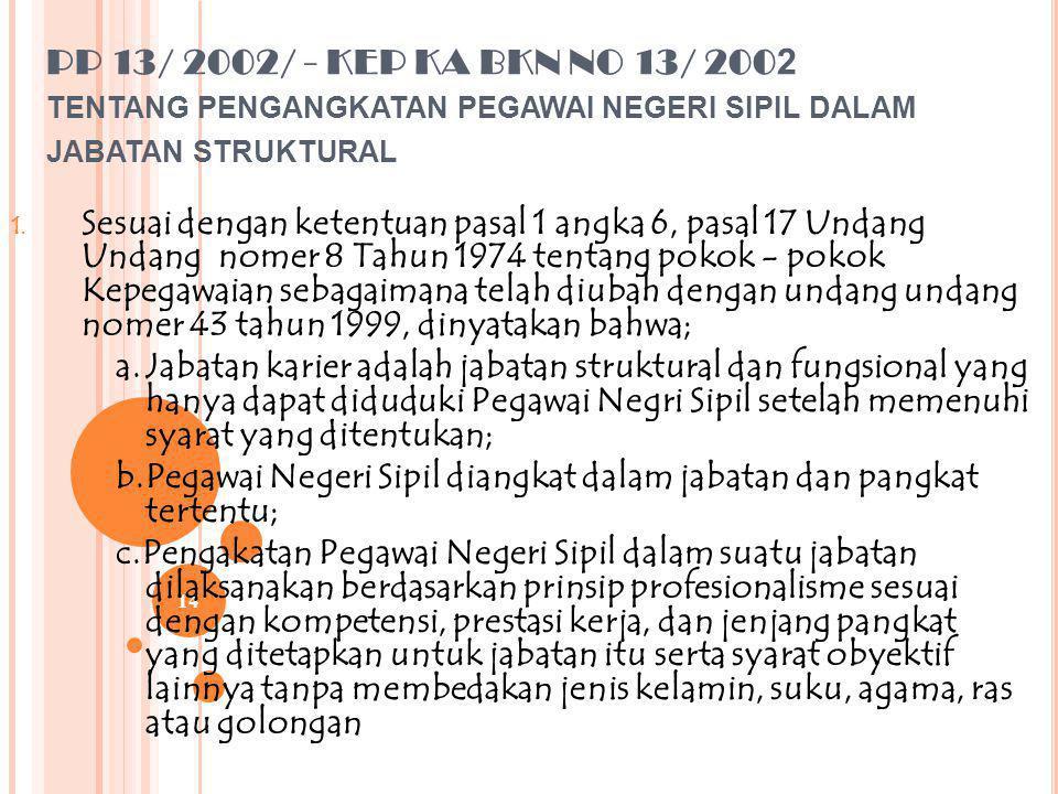PP 13/ 2002/ - KEP KA BKN NO 13/ 2002 tentang pengangkatan pegawai negeri sipil dalam jabatan struktural