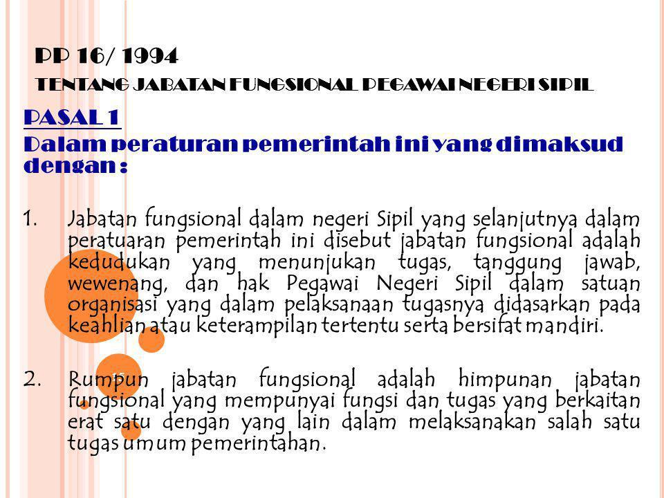 PP 16/ 1994 tentang jabatan fungsional pegawai negeri sipil