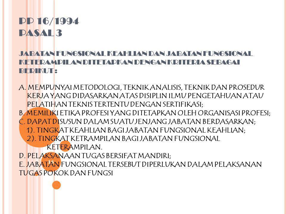 PP 16/1994 PASAL 3 JABATAN FUNGSIONAL KEAHLIAN DAN JABATAN FUNGSIONAL KETERAMPILAN DITETAPKAN DENGAN KRITERIA SEBAGAI BERIKUT : A.