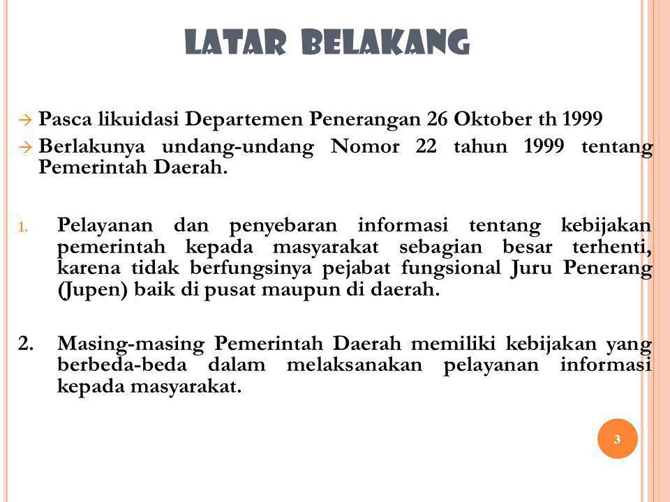 LATAR BELAKANG Pasca likuidasi Departemen Penerangan 26 Oktober th 1999. Berlakunya undang-undang Nomor 22 tahun 1999 tentang Pemerintah Daerah.