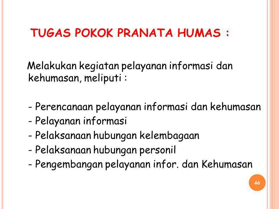 TUGAS POKOK PRANATA HUMAS :