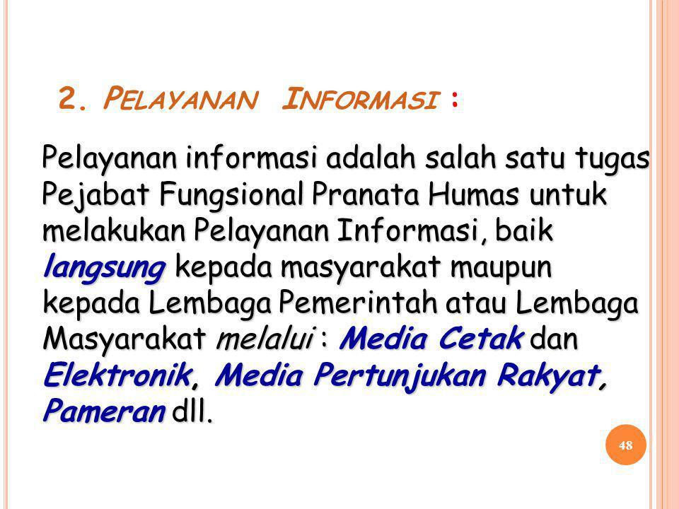 2. Pelayanan Informasi :