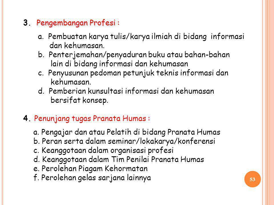 3. Pengembangan Profesi :