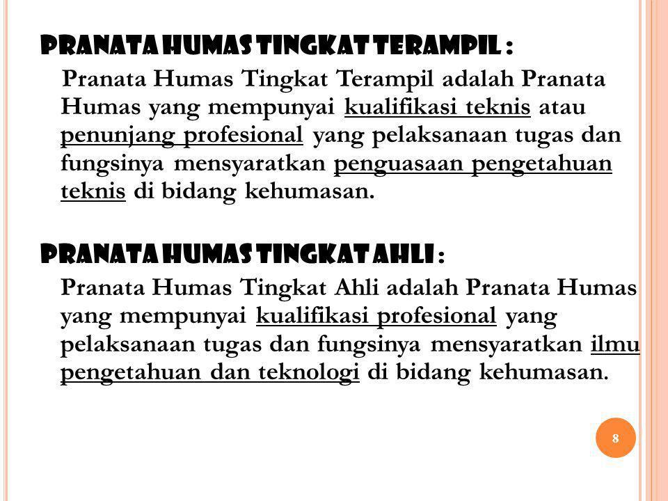 PRANATA HUMAS TINGKAT TERAMPIL :