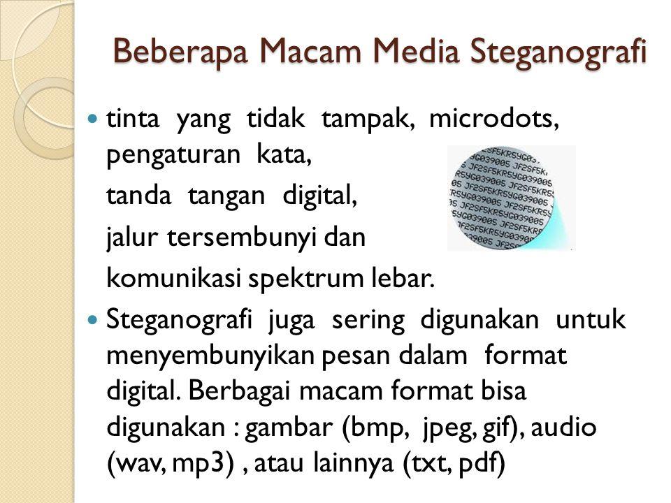 Beberapa Macam Media Steganografi