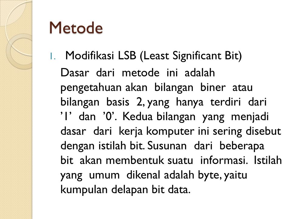 Metode Modifikasi LSB (Least Significant Bit)