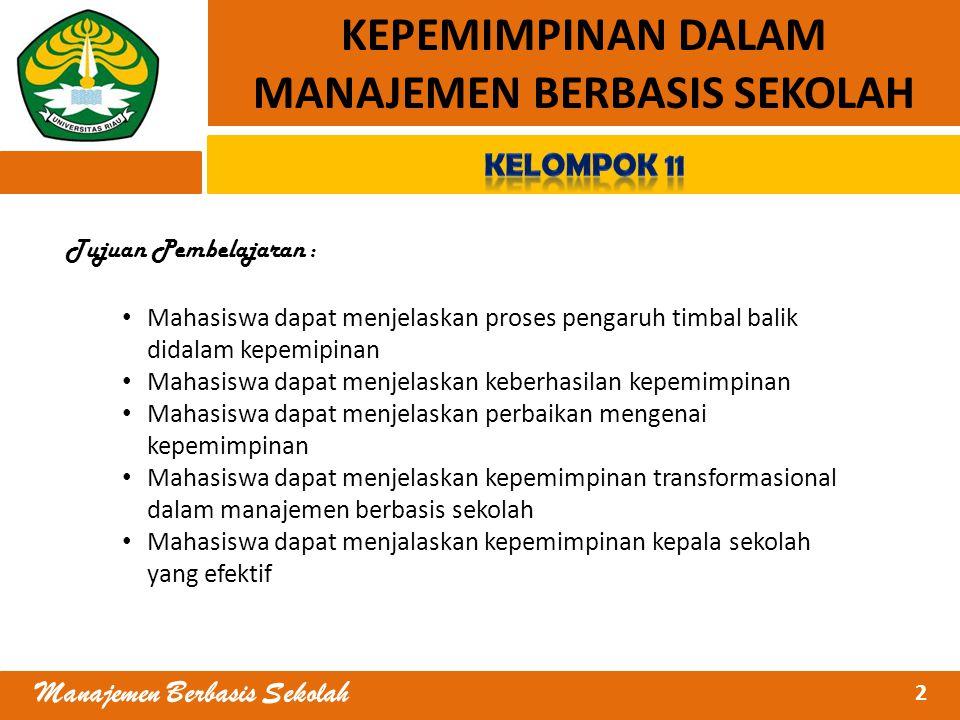 MANAJEMEN BERBASIS SEKOLAH Manajemen Berbasis Sekolah