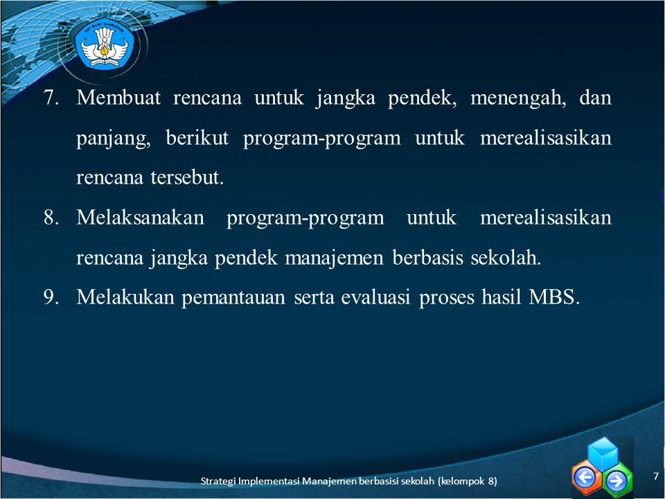 Strategi Implementasi Manajemen berbasisi sekolah (kelompok 8)