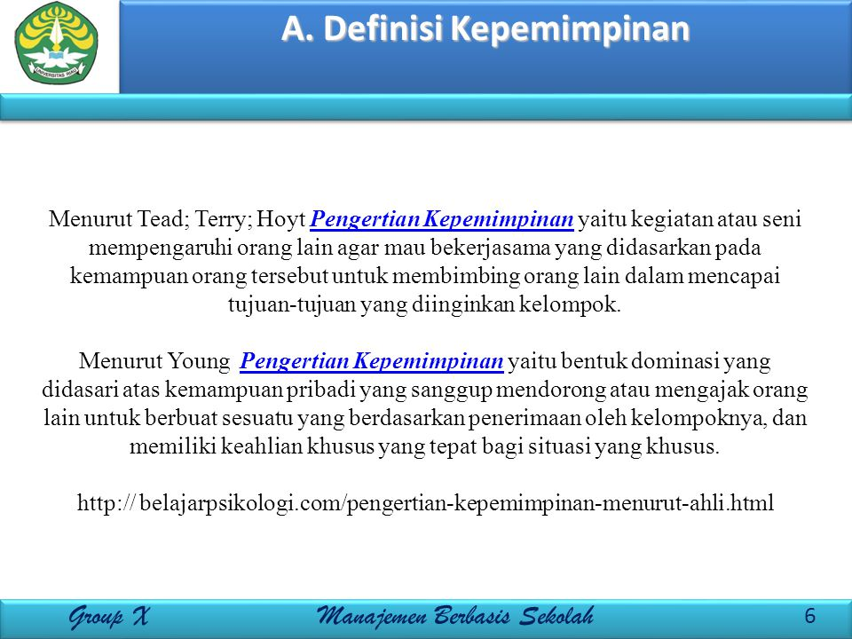 A. Definisi Kepemimpinan